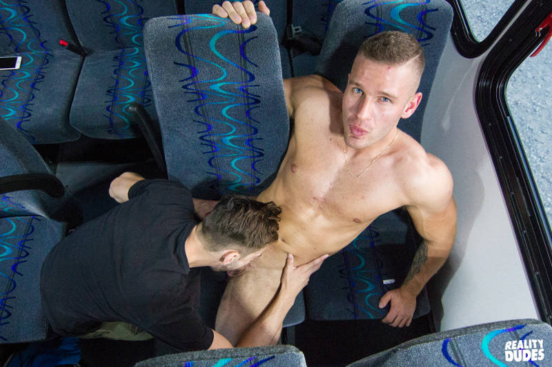 gay guy sucking a straight guys cock on a bus