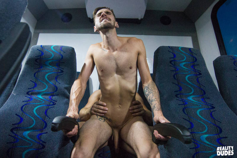 gay guy getting fucked in the ass on a bus