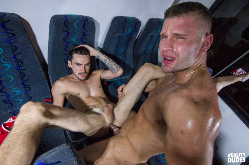 Sweaty muscle jock fucking a gay guy on a bus