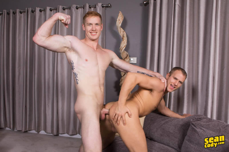 straight muscle jock flexing his muscles while bareback fucking a gay guy